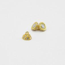 Магнит-полусфера со стразами цвет золото 10 мм