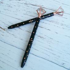 Ручка с бриллиантом черная в горошек розовое золото