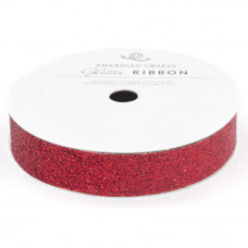 "Лента ""Solid Large Glitter Ribbon-ROUGE"" от American Crafts"
