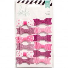 Набор декоративных бантиков от Heidi Swapp, Pink/White