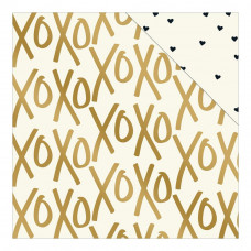 "Лист бумаги X's & O's Yes, Please Foiled Double-Sided Cardstock 12""X12"" от My Minds Eye"