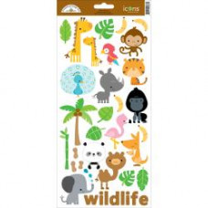 """Наклейки At The Zoo Cardstock Stickers 6""""X13"""" Icons #1 от Doodlebug"""