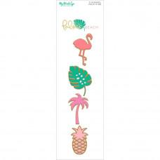 Набор эмалевых металлических украшений Palm Beach Enamel Painted Pins 4/Pkg от My Minds Eye