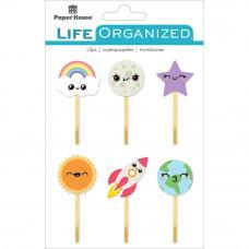Набор зажимов Paper House Life Organized Epoxy Clips 6/PkgKawaii