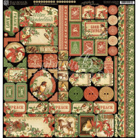 "Набор наклеек Winter Wonderland Cardstock Stickers 12""X12 от  Graphic 45"