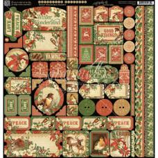 "Набор наклеек Winter Wonderland Cardstock Stickers 12""X12 от  Graphic 45"