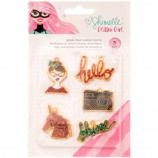 Набор металлических подвесок Shimelle Glitter Girl Enamel Charms 5/Pkg от  American Crafts