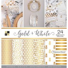 """Набор бумаги с золотым фольгированием Gold & White от DCWV 12""""X12"""""""