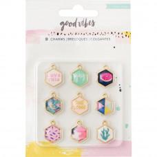 Эмалевые подвески Good Vibes Charm Embellishments 9/Pkg от Crate Paper