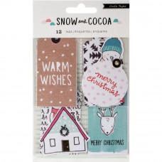 Набор тэгов Snow & Cocoa Cardstock Tags 12/Pkg Decor Tags W/Holiday & Winter Graphics