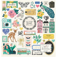 "Набор чипборда Maggie Holmes Flourish Chipboard Stickers 12""X12"" от Crate Paper"
