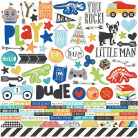 "Набор наклеек Combo Lil' Dude Cardstock Stickers 12""X12"" от  Simple Stories"