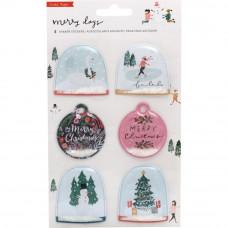 Набор объемных украшений - шейкер Merry Days Shaker Stickers 6/Pkg  от Crate Paper