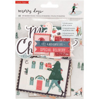 Набор высечек Merry Days Ephemera Cardstock Die-Cuts 40/Pkg от Crate Paper