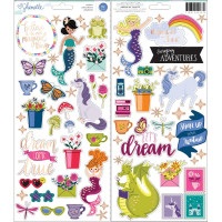 "Набор наклеек Accent & Phrase Shimelle Head In The Clouds Stickers 6""X12"" от American Crafts"