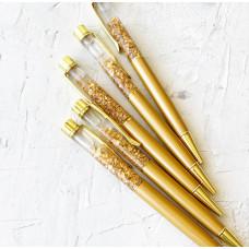 Ручка шариковая с фольгой - горчичная перламутровая