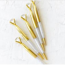 """Ручка шариковая """"Бриллиант с кристаллами """" Золото"""""""