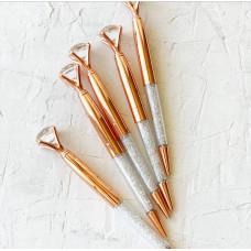 """Ручка шариковая """"Бриллиант с кристаллами """" Розовое золото"""""""