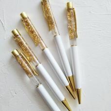 Ручка шариковая с фольгой - белая перламутровая