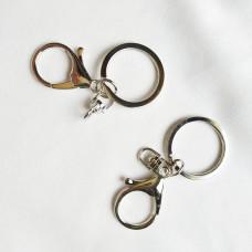 """Двойное кольцо 3см. с карабином """" серебро"""""""