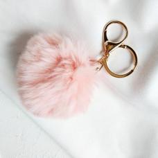"""Подвеска брелок """"Меховой шарик"""" розовый"""