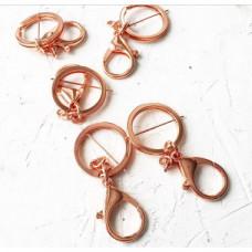 """Двойное кольцо 3см. с карабином и цепочкой """" Розовое золото"""""""