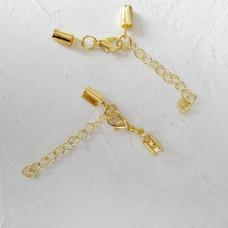 Цепочка с карабином и разъемом для шнура цвет золото