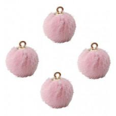 Подвеска меховой шарик розовый