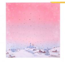Бумага для скрапбукинга с фольгированием «Зима в деревне», 20 × 20 см