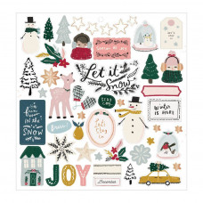 Чипборд Snowflake Chipboard Stickers -W/Copper Foil Accents от Crate Paper