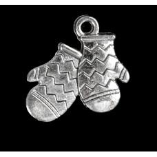 """Декор для творчества металл """"Варежки"""" серебро 1,7х1,6 см"""