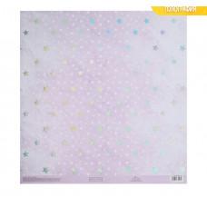 Бумага для скрапбукинга с голографическим фольгированием «Розовые мечты», 30.5 × 32 см