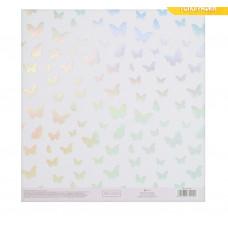 Бумага для скрапбукинга с голографическим фольгированием «Порхание бабочки»