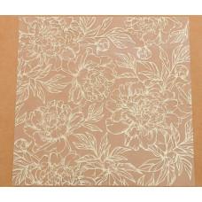 Ацетатный лист с фольгированием «Золотые пионы», 20 × 20 см