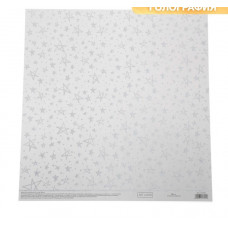 Бумага для скрапбукинга жемчужная «Серебряные звезды», 30,5 × 32 см, 250г/м