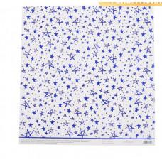 Бумага для скрапбукинга жемчужная «Голубые звезды», 30,5 × 32 см
