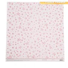 Бумага для скрапбукинга жемчужная «Розовые звезды», 30,5 × 32 см