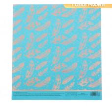 Бумага для скрапбукинга жемчужная с фольгированием «Пёрышки», 20 × 21.5 см