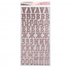 Чипборд‒алфавит на клеевой основе с фольгированием «В стране единорогов», 14 × 27.5 см