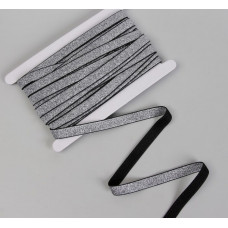 Резинка с глиттером, 15 мм, цвет чёрный/серебряный