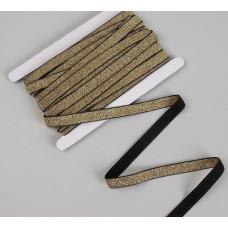 Резинка с глиттером, 15 мм, цвет чёрный/золотой