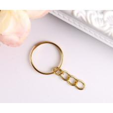 Основа для брелока кольцо металл с цепочкой золото 1,8х1,8 см