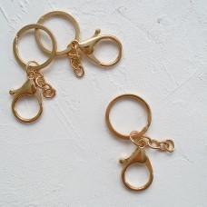 """Двойное кольцо 3см. с карабином и цепочкой """" золото"""""""