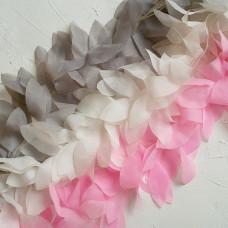 Шифоновые лепестки на ленте, цвет белый, отрез 22 см