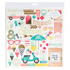 "Чипборд  POOLSIDE Chipboard Stickers 12""X12"" от Crate Paper"