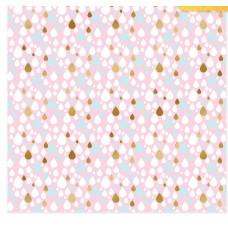"""Бумага для скрапбукинга с фольгированием """"Капли"""",  30,5 х 30,5 см, 180 г/м"""