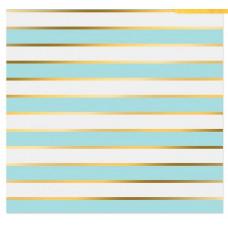 Бумага в листах с фольгированием «Голубые полосы»,  30,5 х 30,5 см, 180 г/м