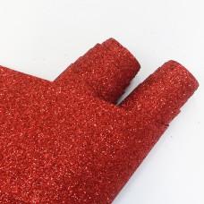 Ткань с глиттером красная