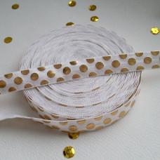 Резинка белая с крупным золотым горохом 90см