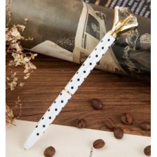 Ручка с бриллиантом белая в черный горошек